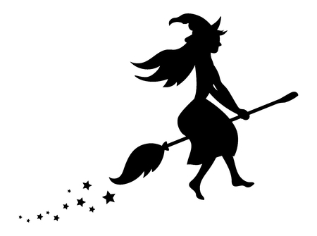 night dress: Black silhouette of a witch flying on a broomstick. Silhouette for the Halloween. Mystical illustration. Illustration