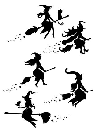 A set of black silhouettes of witches flying on a broomstick. A collection of silhouettes for Halloween. Mystical illustration.