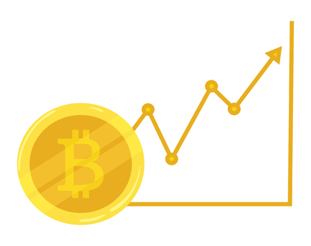 hype: Gold coin bitcoin. Course going up. Crypto currency. Graphic growth bitcoin. Mining of electronic currency. Vector icon. Illustration