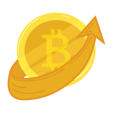 Gold coin bitcoin. Course going up. Crypto currency. Graphic growth bitcoin. Mining of electronic currency. Vector icon. Illustration