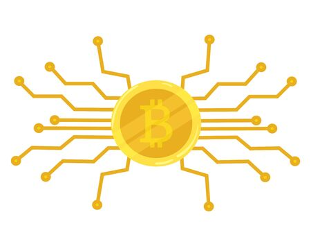 Gold coin bitcoin. Crypto currency icon. Mining. Vector icon
