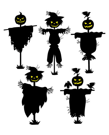 A set of silhouettes of scarecrows. Collection of black silhouettes stuffed with pumpkin head. Set for Halloween. Mystic vector illustration.