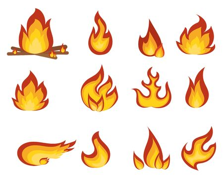 A collection of stylized fires.