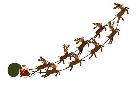 Kerstmisillustratie van de Kerstman in een ar met herten en een zak van giften. Stock Illustratie