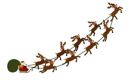 Christmas illustration of Santa Claus in a sleigh with deer and a bag of gifts.