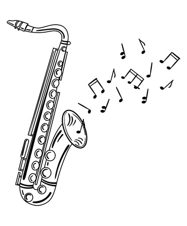 Saxophone playing melody with notes. 일러스트