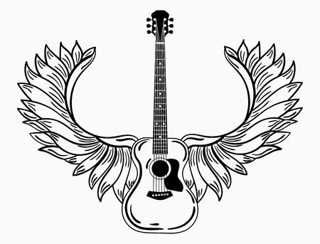 Estilizada guitarra acústica con alas de ángel en blanco y negro ilustración de un instrumento musical.