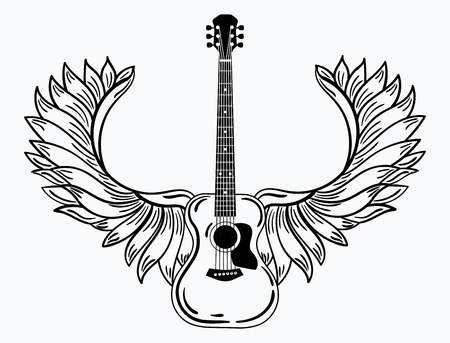 Stylized acoustic guitar with angel wings in black and white illustration of a musical instrument.