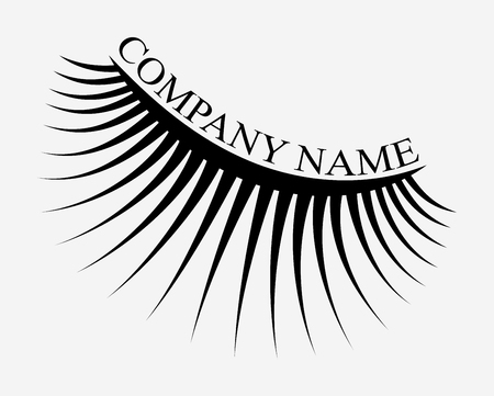 Logo of eyelashes. Stylized hair. Abstract lines of triangular shape. Black and white vector illustration. Иллюстрация