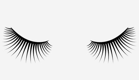 まつげのロゴ。様式化された髪の毛。三角形の形状の抽象的な線。黒と白のベクトル図です。  イラスト・ベクター素材