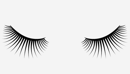 Logo of eyelashes. Stylized hair. Abstract lines of triangular shape. Black and white vector illustration. Illusztráció