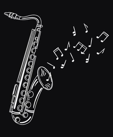 サックスのメロディーを演奏します。ノート風の楽器。ジャズのエンブレム。風の楽器の黒と白のイラスト。 写真素材 - 84287910