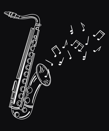 Saxophone playing melody. Wind musical instrument with notes. Jazz emblem. Black and white illustration of a wind musical instrument. Vectores