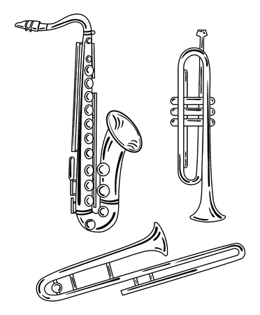 Set of wind musical instruments icon.