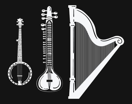A set of musical instruments in black and white banjo illustration.