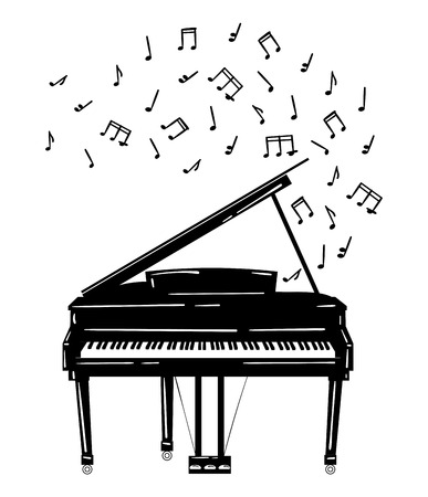 Vector illustration of a piano with notes.