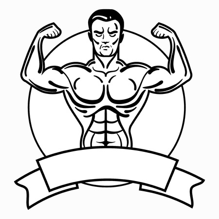 Bodybuilder with a sporty physique. A man with muscular muscles. Black and white athlete. Sports emblem. Master of mixed martial arts. Illustration