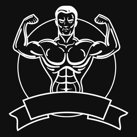 Bodybuilder with a sporty physique. A man with muscular muscles. Black and white athlete. Sports emblem. Master of mixed martial arts. Ilustrace