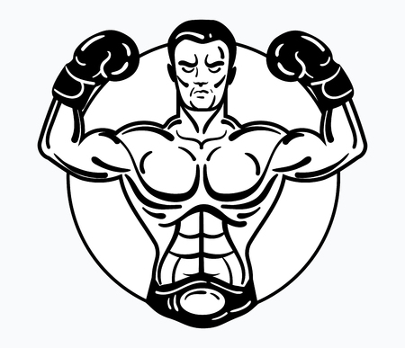 A boxer man in boxing gloves. Vector illustration of an athlete with a sporty physique. Winner. Black and white athlete logo. Mixed martial arts. Sports emblem.