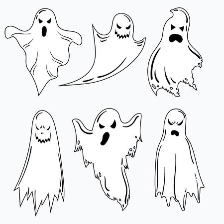 Un conjunto de fantasmas para Halloween. Una colección de fantasmas místicos. Estilizados espíritus malignos. Ilustración de vector blanco y negro para Halloween. Ilustración de vector