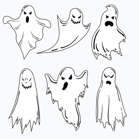A set of ghosts for Halloween. A collection of mystical ghosts. Stylized evil spirits. Black and white vector illustration for Halloween.