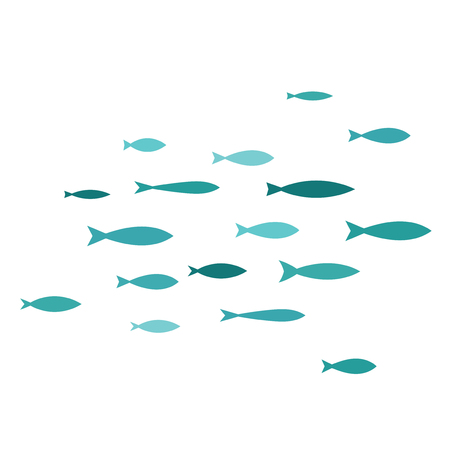 Coloured silhouettes of groups of sea fishes.