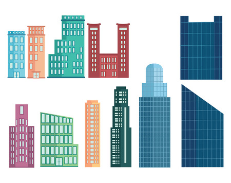 centers: A set of modern houses. Collection of houses in cartoon style. Skyscrapers and business centers. Multi-story houses.