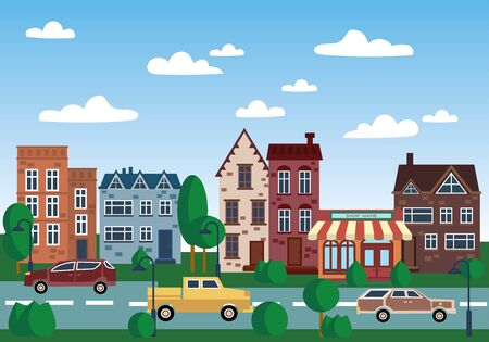 City of old houses. Illustration with houses in a row. Place for the text. The old city by day. Art. Illustration