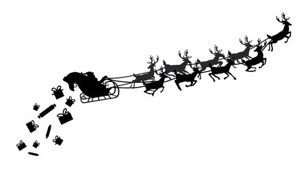 christmas gifts: Santa flying in a sleigh with reindeer. Vector illustration. Isolated object. Black silhouette. Illustration