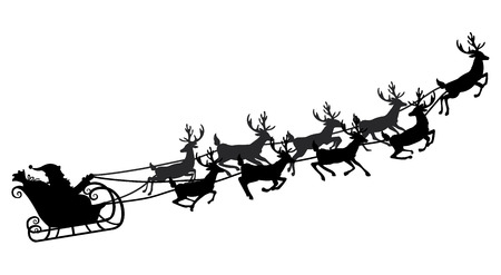 Santa flying in a sleigh with reindeer. Vector illustration. Isolated object. Black silhouette. Stock Illustratie
