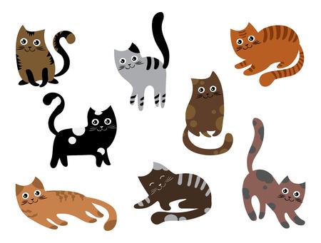 고양이 세트. 다른 색상의 만화 새끼 고양이의 컬렉션입니다. 쾌활한 애완 동물. 사랑스러운 고양이 색깔. 어린이위한 벡터 일러스트 레이 션.