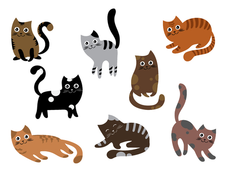 A set of cats. A collection of cartoon kittens of different colors. Playful pets. Lovely colored cats. Vector illustration for children.