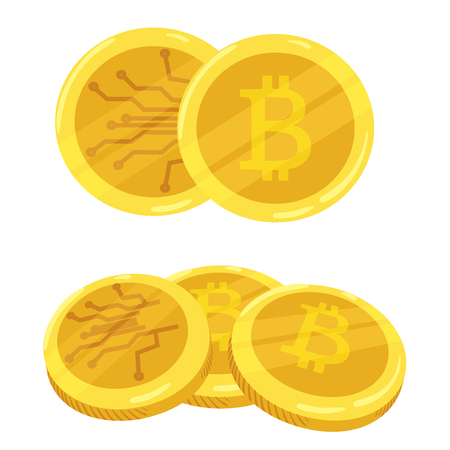 metal net: Golden bitcoin digital currency. A stack of coins bitcoin. Gold stack of bitcoins cryptocurrency coins. Mining. Vector icon. Illustration in the cartoon style. Illustration