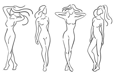 Een stel vrouwelijke figuren. Verzameling van contouren van jonge meisjes. Gestileerde slanke lichaam. Lineaire kunst. Zwart en wit vectorillustratie. Contour van een slank figuur.