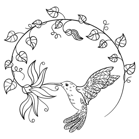 Hummingbird drinking nectar from a flower. A flying hummingbird inscribed in a circle of flowers. Stylized bird. Linear Art. Black and white vector illustration. Tattoo.