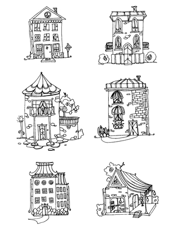 small business: Set of houses. Vector collection of small buildings. A set of stylized boutiques. Linear Art. Black and white drawing by hand. Cartoon shops. Doodle art.