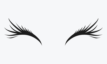 Icon of eyelashes. Stylized hair. Abstract lines of triangular shape. Black and white vector illustration. Illustration