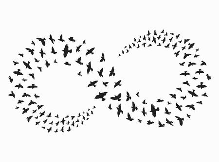 Zwerm vogels vliegen in een vorm van oneindigheid. Stock Illustratie