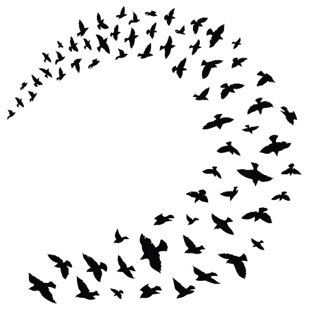 飛んでいる鳥の群れ。  イラスト・ベクター素材