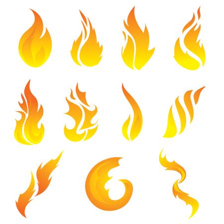 Set of stylized flame.