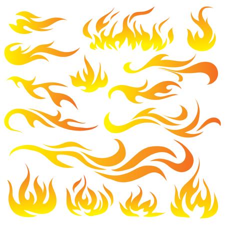 Collection of stylized fires.