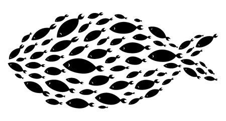 Silhouette of group of sea fishes. Illustration