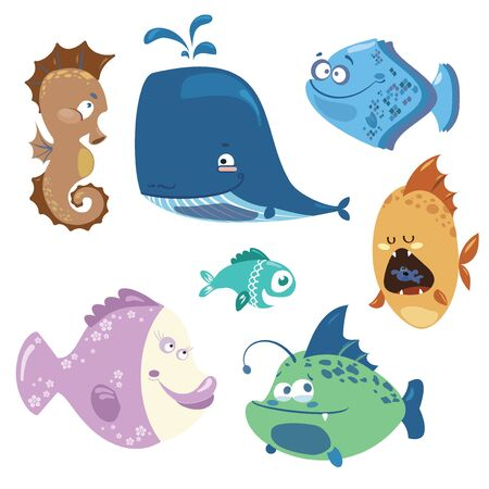 school of fish: Collection of cute colored fish.