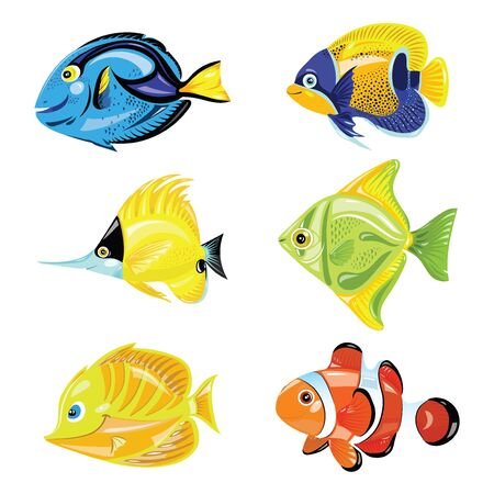 Conjunto de peces de dibujos animados. Colección de peces de colores lindos. Residentes marinos. Ilustración de vector