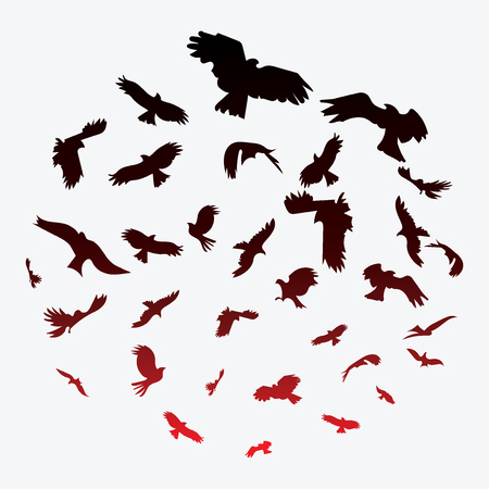 starling: Silhouette of a flock of birds. Black contours of flying birds. Flying pigeons. Tattoo. Illustration