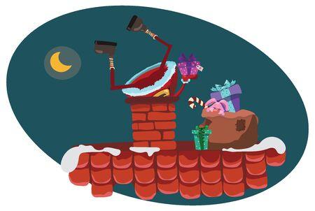 Cartoon Santa Claus climbs into the chimney. Christmas illustration of Santa carrying presents to houses. Art.