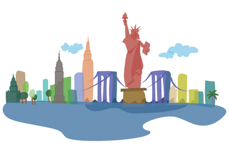 Colored silhouettes of New York City and its sights. Vector illustration of an American city. Art.