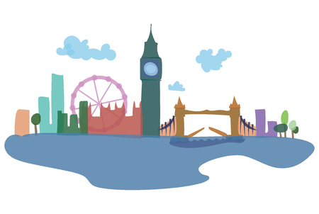 Colored silhouettes of London and its sights. Vector illustration of a European city. Art. Illustration