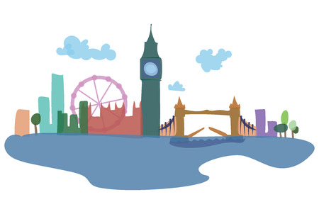 Colored silhouettes of London and its sights. Vector illustration of a European city. Art. Stock Photo