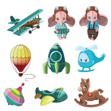 EnfantsIllustration De Petite VoitureFuséeLe Animé Ensemble Jouets Les BallonDessin Pour l1c3JTFK